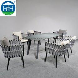 Struttura In Teak Con Struttura In Corda Intrecciata Tavolo Da Pranzo E Sedie Per Sala Da Pranzo