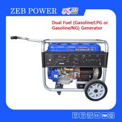 Combustível duplo de 8 kw a gasolina e GPL geradores portáteis com Corrimão e Rodas