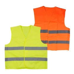高い可視性のオレンジおよび黄色の反射安全ジャケットの安全ベスト