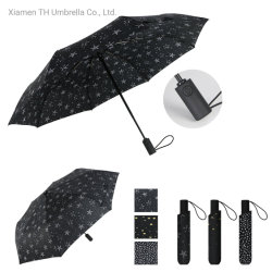 3 ثني سيّارة مفتوحة مع نجم طباعة مطر مظلة