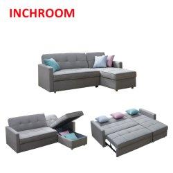新しい到着の中国の現代寝室の家具最小主義の様式灰色ファブリックソファーベッド