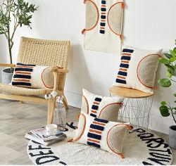 Estilo Morrocca Funda de cojín almohada cubrir hechos a mano armada Tufted raya naranja Cojín para la decoración del hogar Sofá Sofá Salón Dormitorio