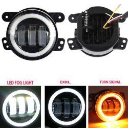 LED redondos de 4 Polegadas com luz de nevoeiro Anjo Halo olhos DRL para Jeep Wrangler Jk 30W luz de nevoeiro do LED