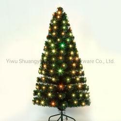 45-300cm Fibra Optica de PVC Verde Árbol de navidad artificial con LED de hoja de flor de nieve de Pinecone baya roja