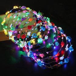 Fascia capa decorativa della parte superiore del fiore della corona LED dei capelli del partito