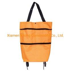 سعر المصنع مخصص عالية الجودة أورانج اوكسفورد قماشي سوبر السوق الطي حقيبة تسوق تروللى قابلة للطي