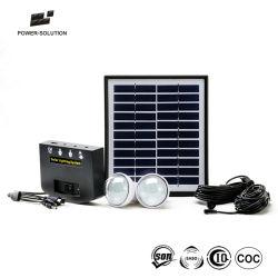 نظام إضاءة الطاقة الشمسية المنزلية من التيار المستمر مع مصبابين و شاحن الهاتف المحمول