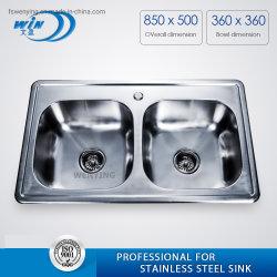 Doppio Bowl High Technology Restaurant Kitchen Sink Wy8550d