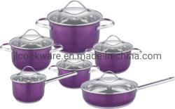 12PZ High Qualitycookware (set) con vernice colore viola
