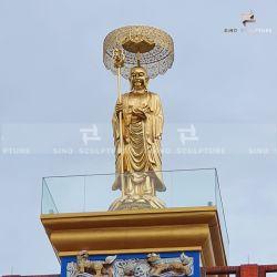 Hoja de Oro personalizado estatua de Buda de bronce de Bodhisattva Ksitigarbha
