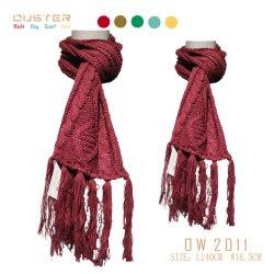 Polyester-heiße Verkaufs-Frauen-Poncho-Qualität 100%, die rote Farben-Multifunktionsschal-warmen Winter-Schal mit langer Troddel strickt