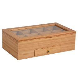 Hot Sale Commerce de gros 8 compartiment de boîte de thé en bois avec fenêtre en verre
