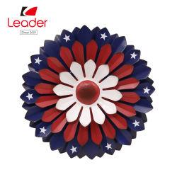 Großer rustikaler patriotischer Metalstall-Blumen-Wand-Dekor, Flagge-Blumen-Wand-Kunst-Innen-/im Freien hängender Dekor, patriotischer Entwurf