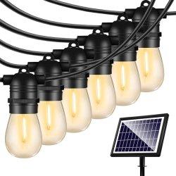 48 FT, luzes de cadeia solar, lâmpadas Vintage Edison, resistentes a estilhaços, para exterior &4 modo de luz resistente às intempéries Strand-LED String Lights Solar Luzes de pátio para pátio de quintal