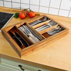 Grande Tabuleiro de talheres de bambu expansível utensílio de Gaveta Organizador com 7 seções - 2 Peças ajustável para encaixe confortável na bandeja de talheres de bambu gavetas de cozinha