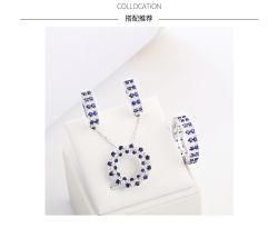 Moda 925 Libra Esterlina Corindo Azul Jóias Gemstone personalizado definido