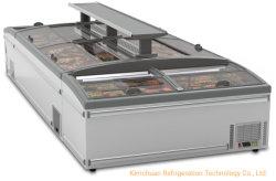 Congelatore portatile profondo della cassa del frigorifero del frigorifero di energia solare della strumentazione di vetro superiore del supermercato