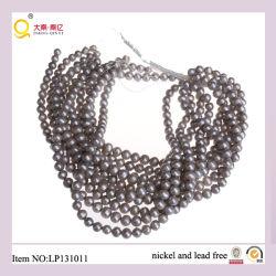 9-10mm forme de pomme de terre de perdre des chaînes de perles de qualité gris perle
