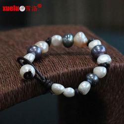 La mode en cuir véritable perle baroque naturelles en eau douce Bracelet (E150057)