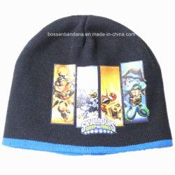 La Chine usine dessin animé personnalisé imprimé à bon marché de l'acrylique enfants Beanie Hat tricotés à chaud