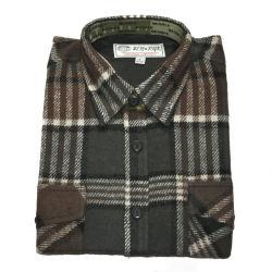 100% algodón de manga larga camisa de franela Mens