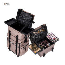 حقيبة تروللي احترافية متعددة السعة 2 في 1 من النايلون البني