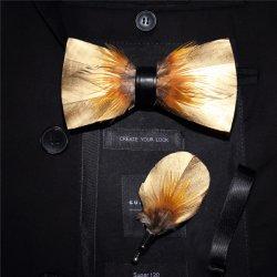 Фабрику 100% Hand-Made природных пуховые+PU мужчин бабочки высокого качества