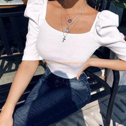 Женщин Топс девочек блуза взрослых Одежда Одежда Одежда с квадратной шейкой белый длинной втулки женщин Топс блуза отшелушивающей подушечкой гильзы