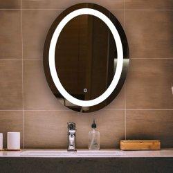 Anti niebla Oval de Pared LED retroiluminada de niebla moderno complemento gratuito a la luz, iluminado con retroiluminación Oval espejo del baño con desempañador y atenuador