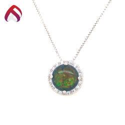 Forma redonda 925 jóias de prata Verde Sintético Opal Pendente de charme de casamento