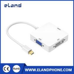AppleのiMacのMacBookサポート4K*2KのためのDVI/VGA/HDMI TVのアダプターケーブルへの1つの小型表示ポートに付き3つ
