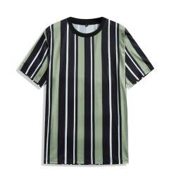 Diseño de rayas de manga corta cuello redondo Camisetas Camisetas de verano