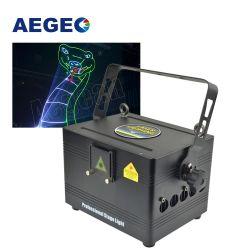 RGB Profissional 3000MW parte do projetor Discoteca Publicidade Efeito 3D Texto Animação Equipamento DJ Mini 3W laser luz de estágio