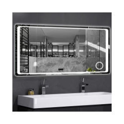 맞춤형 700 * 900 듀얼 터치 스크린 / 조명 / 디포깅 / 시간 온도 / 프레임 없는 벽 장착형 스마트 욕실 거울