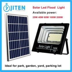 패널 전원 시스템이 있는 100W 솔라 LED 플러드 라이트 야외 월 가든 야드 스트리트 파크에는 산업 하이 베이가 있습니다 조명 캐노피 램프