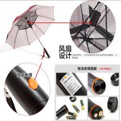 De UV Paraplu Voor dubbel gebruik van het Golf van het Zonnescherm van de Paraplu van de Ventilator van het Handvat van de Paraplu van de Zon van de Ventilator van de Bescherming Zilveren Plastic Creatieve