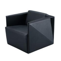 Diseño único negocio Sofá de cuero negro para el uso de la sala de reuniones de oficina