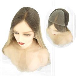 Pizzo bianco biondo con capelli umani Wig Wig Wig Pizzo anteriore Dark Root con laccio HD Wig Wig Top in seta con lacci completi Wig Perruque Custom Wig