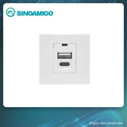 A+C Tipo de interruptor de pared USB Adaptador con indicador LED