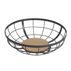 Tudo numa taça de fruta de madeira para a bancada de cozinha sala de jantar estilo Zakka Japonês Cesto de arame Madeira decorativos de ferro