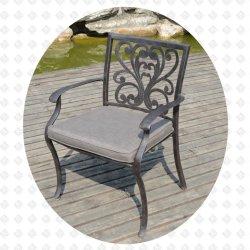 鋳造アルミの屋外の庭の家具の大西洋の最高背部食事の椅子