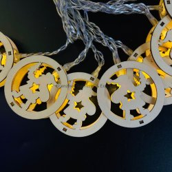 크리스마스 장식 밝은 목재 LED 스트링 라이트