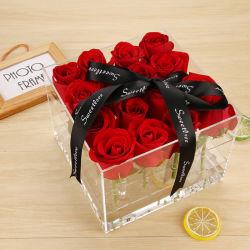 Usine clair d'alimentation en Perspex PMMA acrylique Lucite Fleur Rose Boîte d'affichage de bijoux