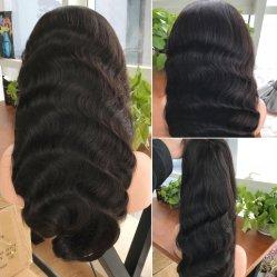 Parrucca brasiliana di estensione dei capelli umani della parrucca 100 della parte anteriore del merletto dei capelli umani 13*6 Cina della parrucca del Virgin dell'onda grezza naturale poco costosa del corpo