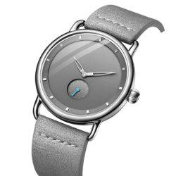 OEM van het Etiket van de Riem van het Leer MOQ van de Gift van de Manier van de fabriek Modern Goedkoop Laag Privé Minimalistisch Horloge voor Mensen