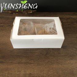 Descartáveis biodegradáveis Eco-Friendly Cupcake Kraft caixas ou Compostável Branco personalizado papel cartão Caixa com janela de exibição