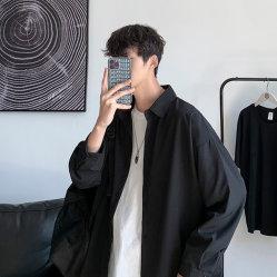 Senior Feeling Free Ironing Feeling Hanging Shirt Männlich Koreanisch Fashion Hong Kong Style Frühling Schwarz mit langen Ärmeln Hemd lose Kleidung