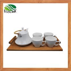 세라믹 티 포트 티 컵 세트 음료 세트, 대나무 용지함