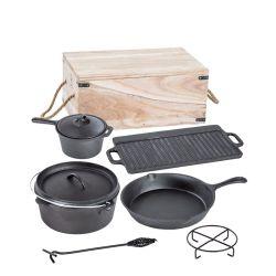 7pcs Pan & Pot Camping Jeu de batterie de cuisine en fonte pour barbecue