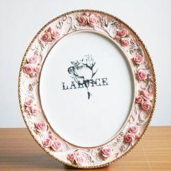 Rose rose ovale de fleurs Accueil Photo Frame Photo